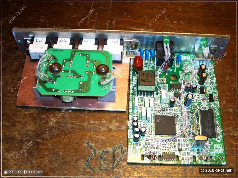 Готовая ADSL-часть со сплиттером и модемом: вид сверху