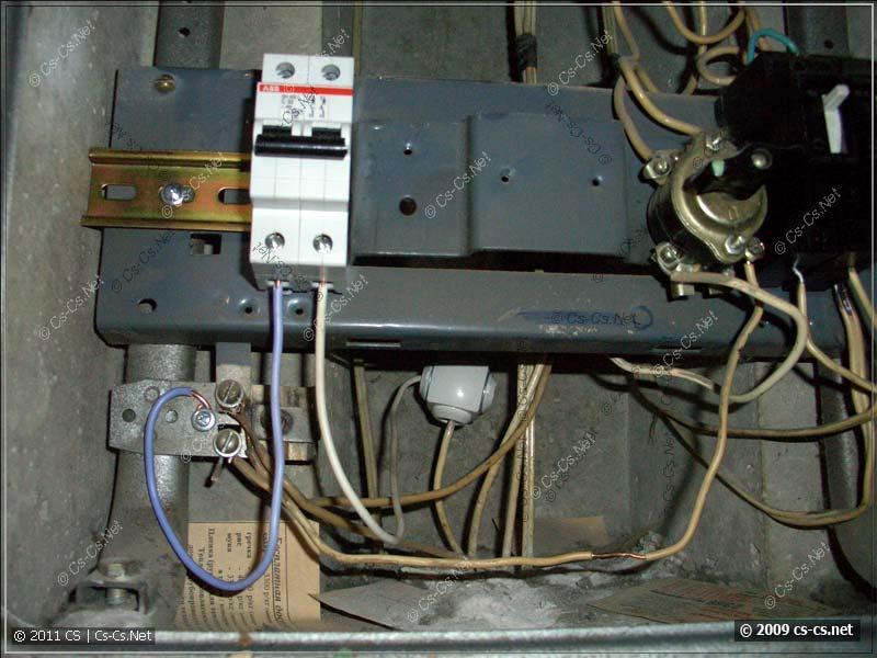 Отводы от стояка и нулевой шинки на автомат