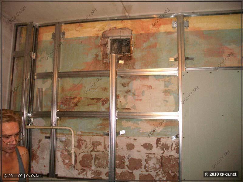 Начало монтажа гипсокартоновой стенки для кухни