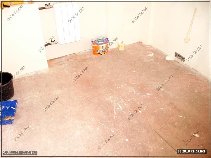 Пол с бетоноконтактом перед укладкой плитки