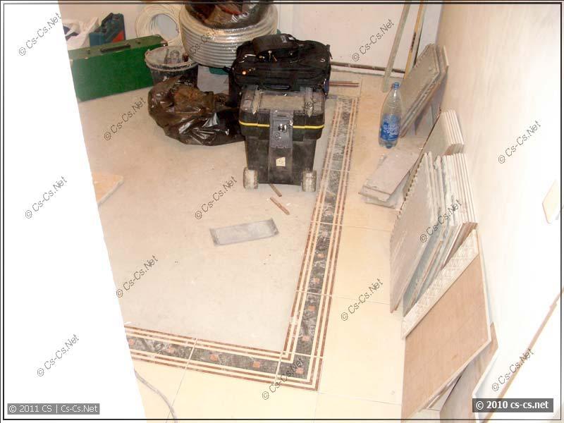 Состояние плитки в кухне после работы джамшутов