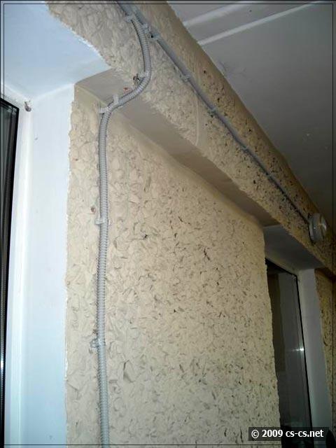 Проводка освещения на балконе