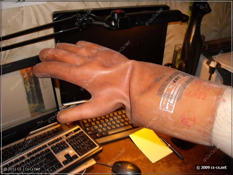 Электрозащитные перчатки: вид сверху