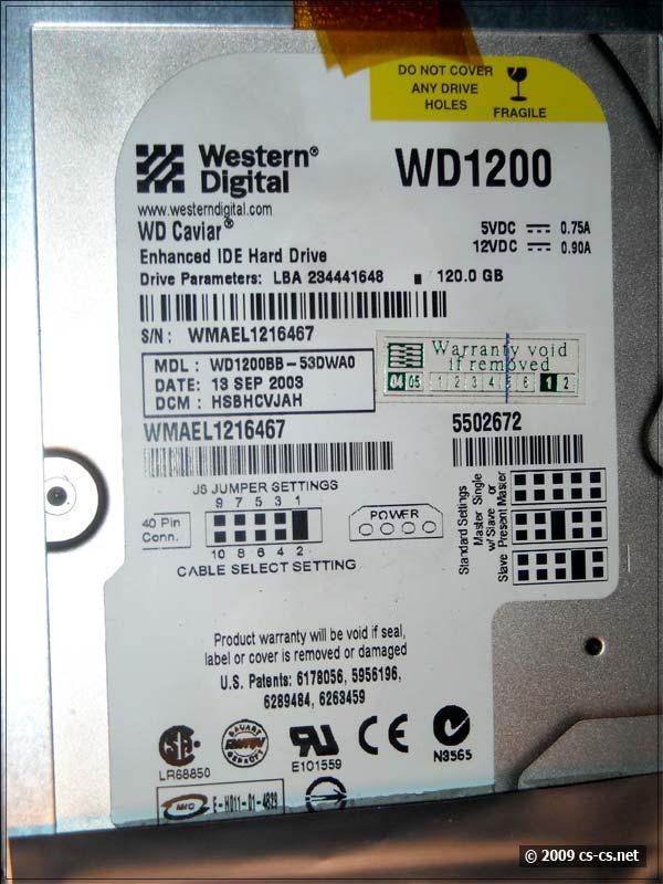 Винчестер Western Digital WD1200