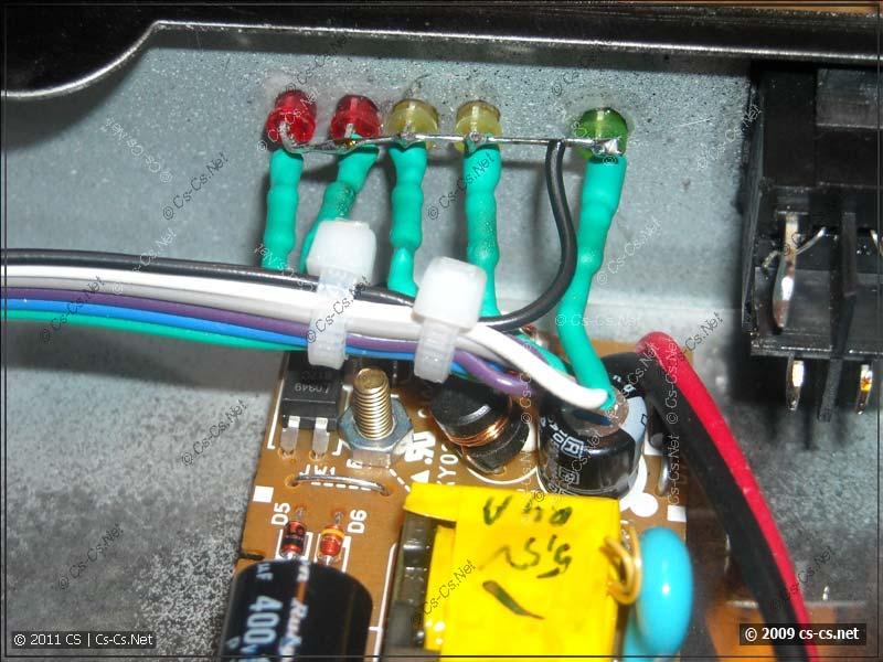 Монтаж светодиодов цветным кабелем