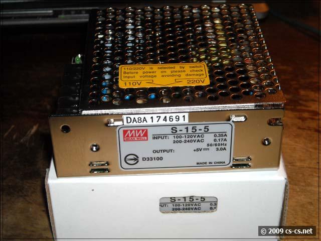 Упаковка и шильдик источника питания S-15-5