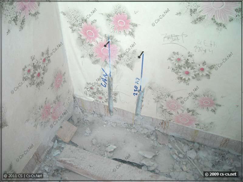 Заготовки под выходы кабелей в стене