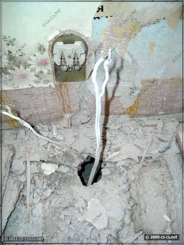 Отключённые провода (которые прямо так шли в стяжке)