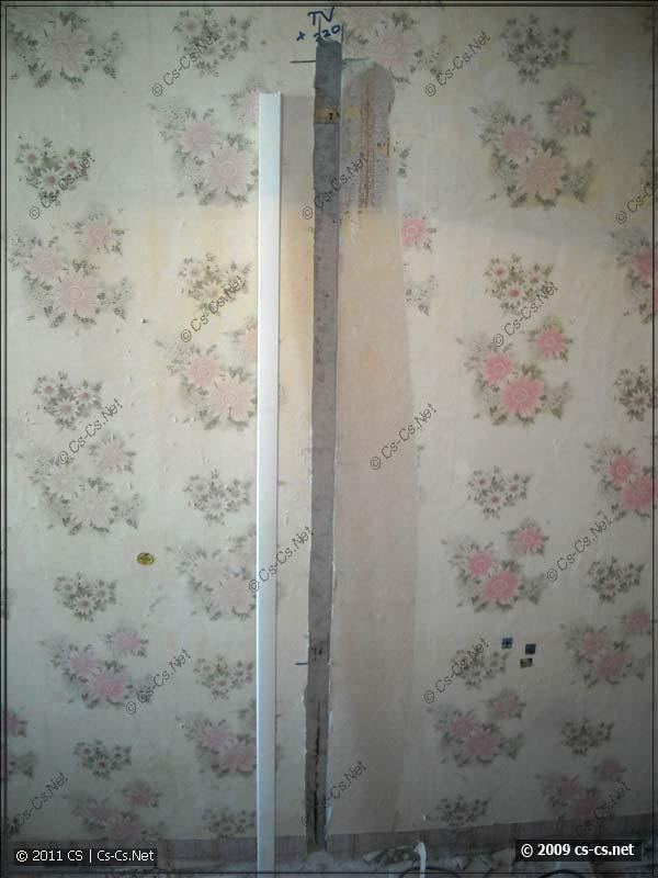 Штроба в стене для установки короба под телевизор
