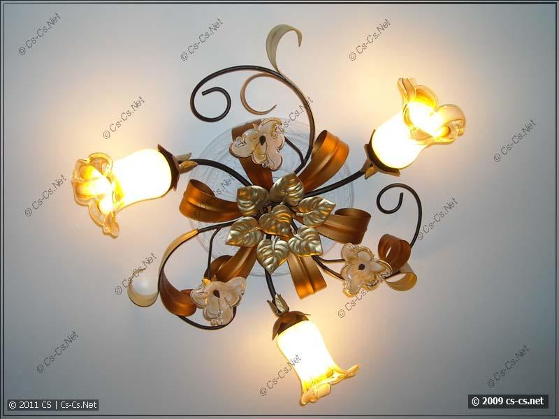 Люстра на потолке (вместе с декоративной розеткой)