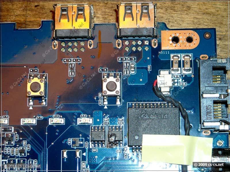 Внешний вид платы ноутбука ASUS A6m со сгоревшей микросхемой