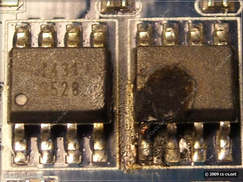 Маркировка сгоревшей микросхемы G528 крупнее