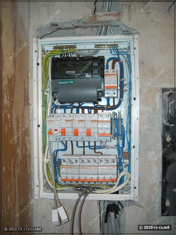 Квартирный щиток с подключёнными отходящими кабелями