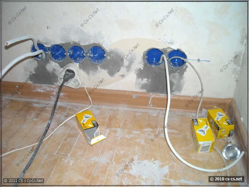 Вмурованные подрозетники и заготовленные кабели