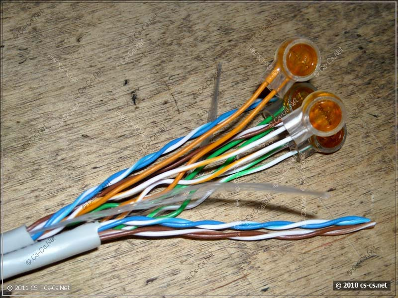 Пример соединения витой пары на скочлоках