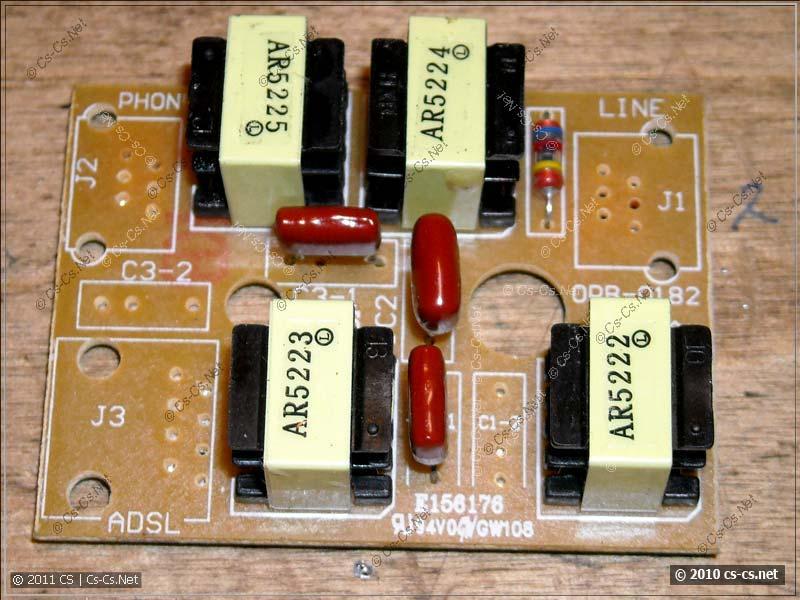 Вскрытый ADSL-сплиттер для монтажа внутрь корпуса