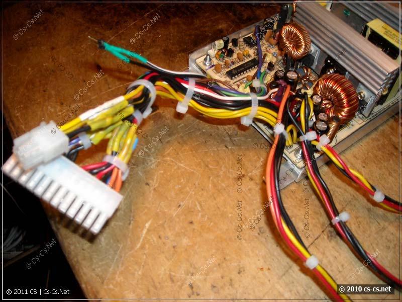 Блок питания ATX после переделки его выходных кабелей