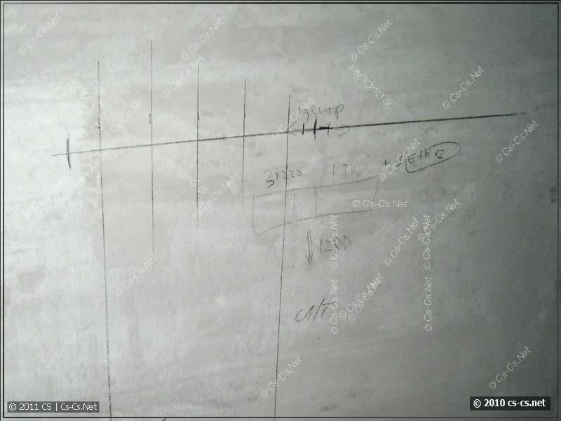 Разметка блока розеток для телевизора на стене