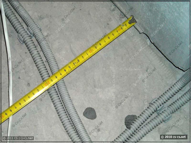 Фотодокументирование результатов: расстояние кабелей от стен 20 см