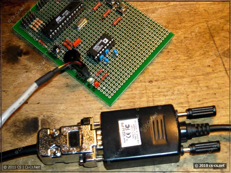 Подключение платы через преобразователь RS-232 USB.