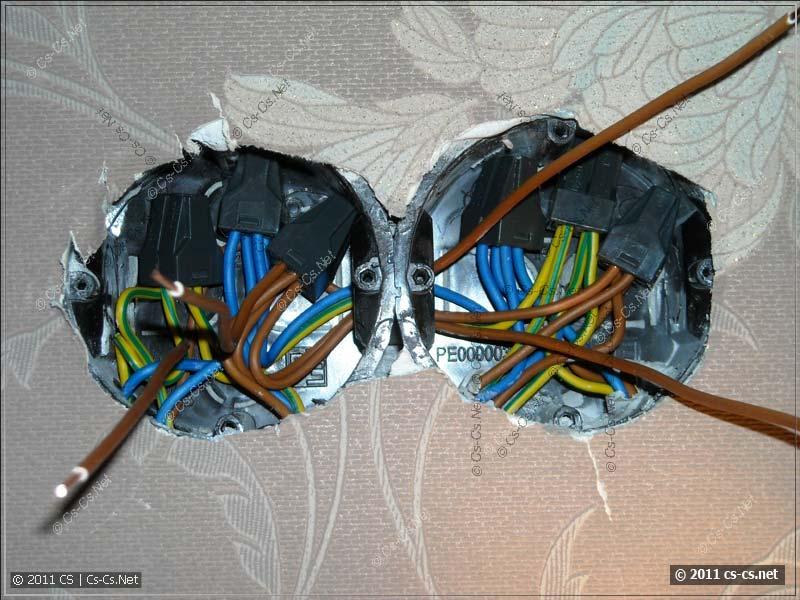 Адский монтаж 6 кабелей в подрозетниках при помощи WAGO