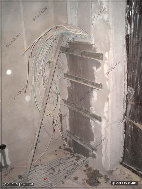 Силовые кабели введены в корпус щитка и зафиксированы