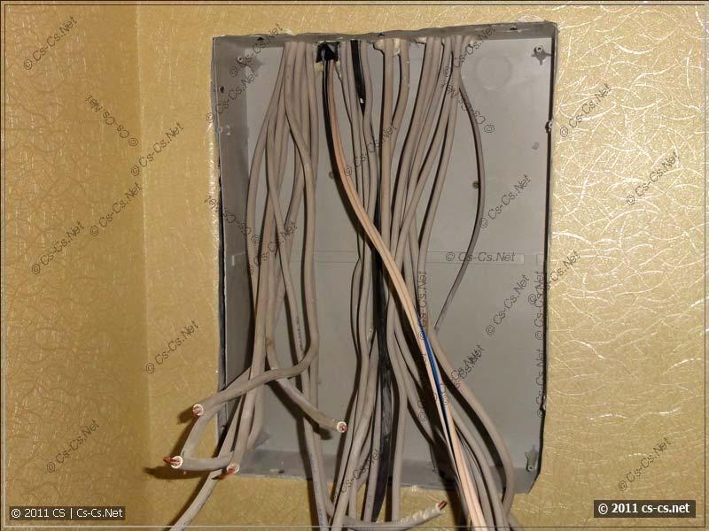 Корпус щитка с выпусками кабелей отходящих линий