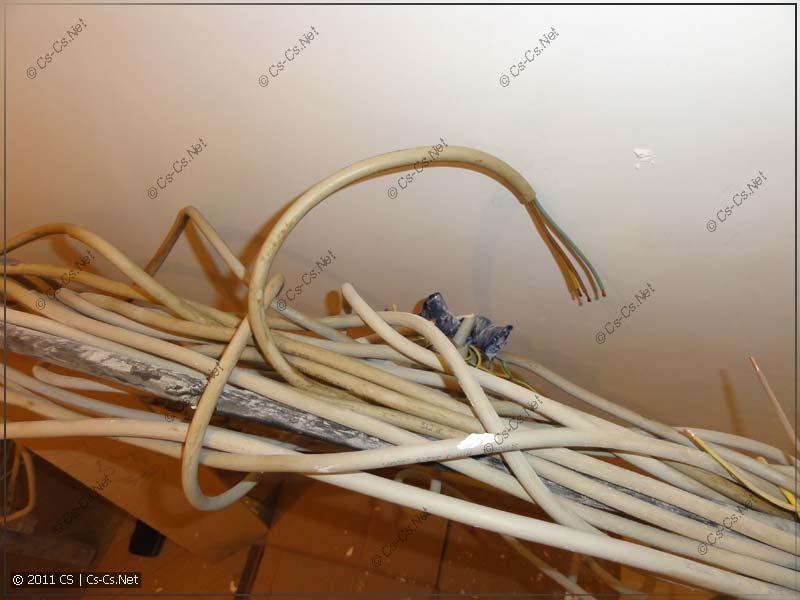 Пучок потёкших кабелей у щитка
