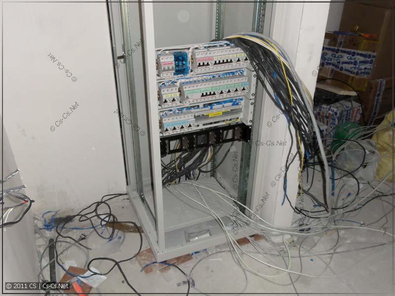 Шкаф установлен на место, силовой щиток закреплён, кабели готовы к подключению