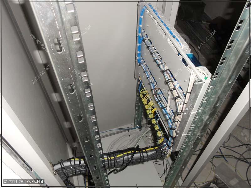 Пучки кабелей сзади силового щитка