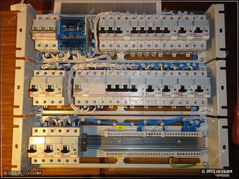 Пример использования кросс-модуля ИЭК ШНК в трёхфазном силовом щите