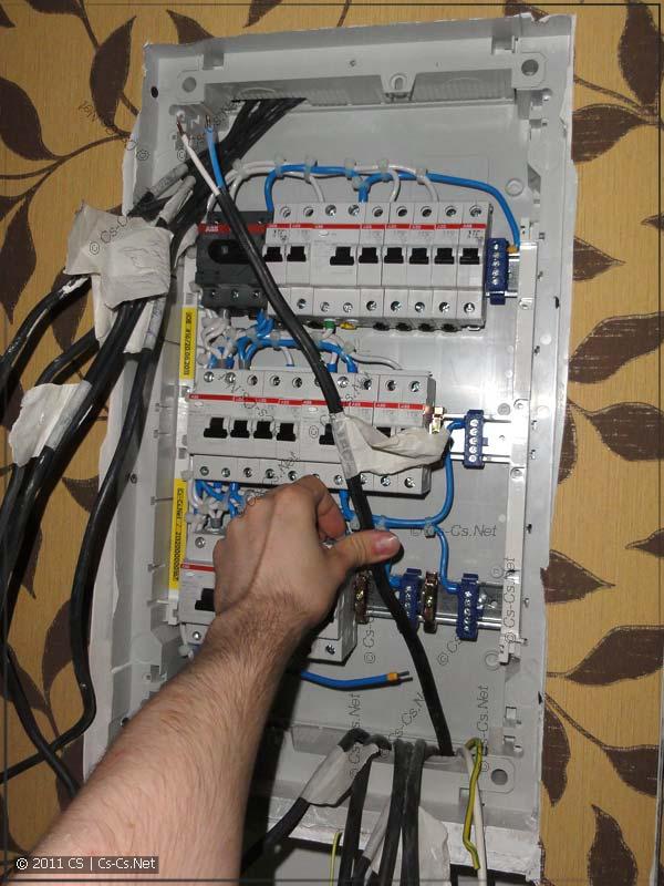 Длина кабелей слишком мала для идеального монтажа щитка