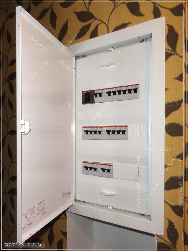 Электрический щиток закрыт кожухом и дверкой
