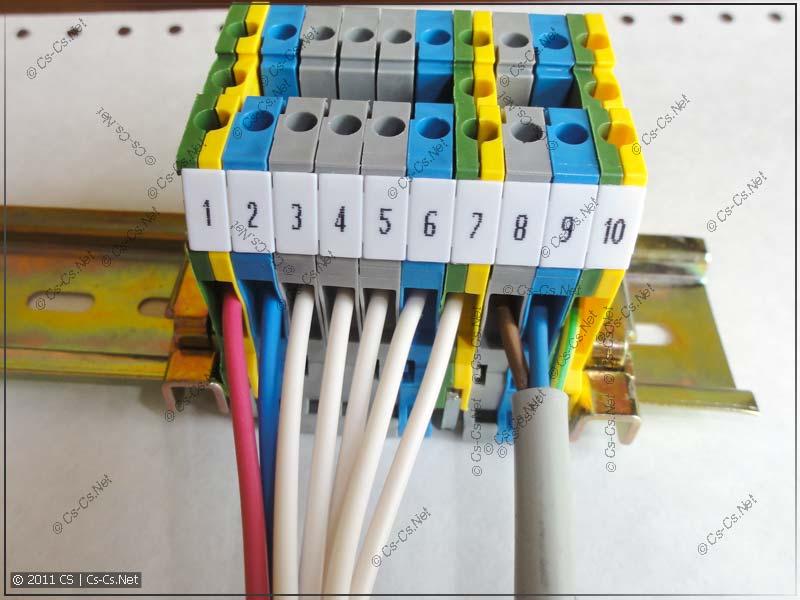 Подключение кабелей к блоку клеммников ABB (ENTRELEC)