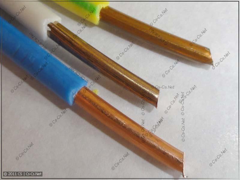 Зачищенные провода для опрессовки (медь разных цветов)