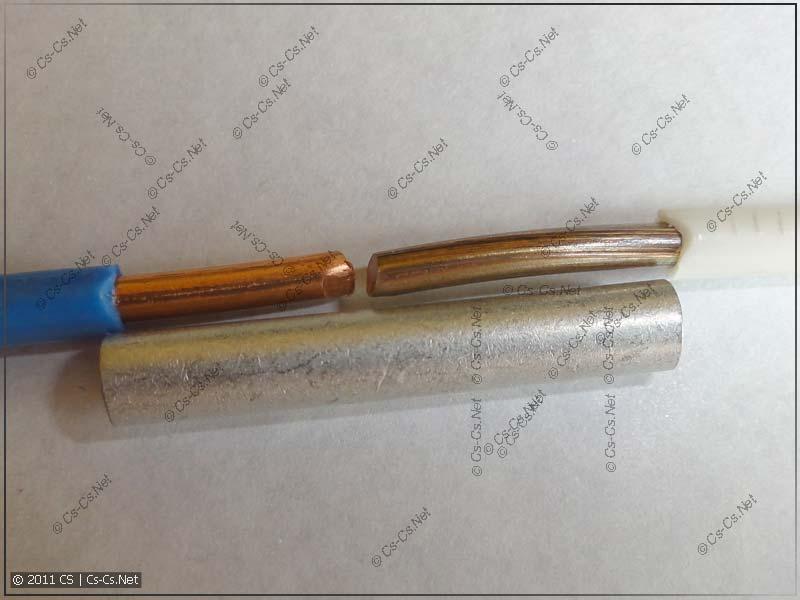 Провода ПВ-1 на 6 кв.мм и гильза ГМЛ 6-4 для их опрессовки