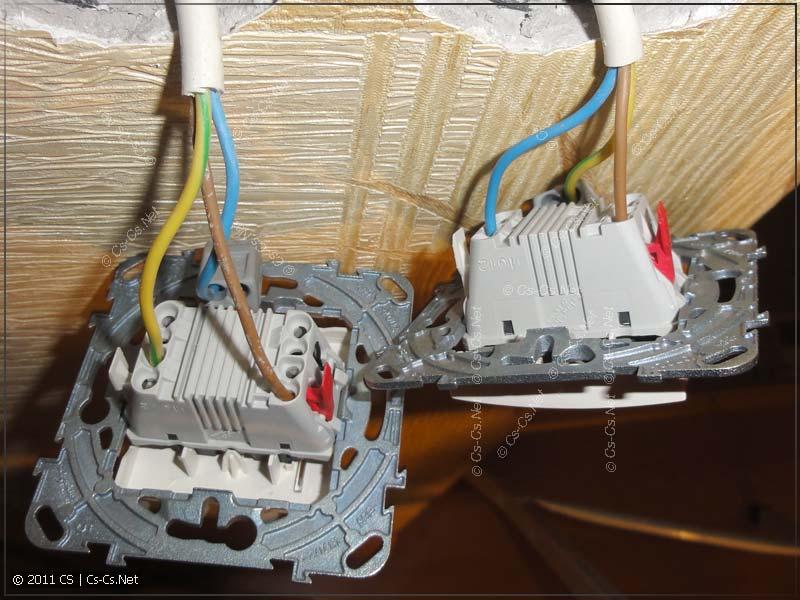 Две кнопки (отдельные кабели) подключены по отдельности для управления разными группами света