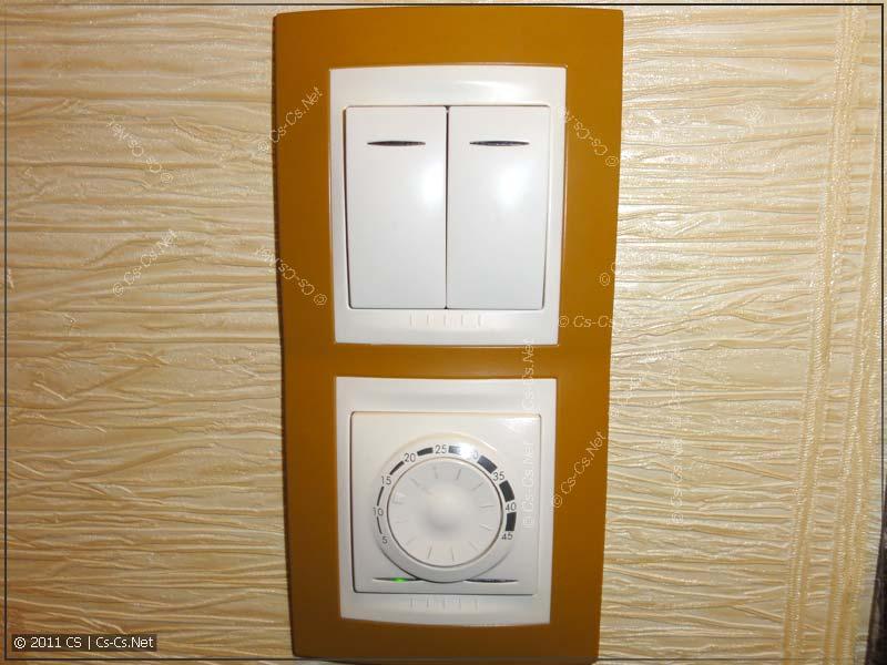 Блок из термостата тёплого пола и сдвоенной кнопки (UNICA)