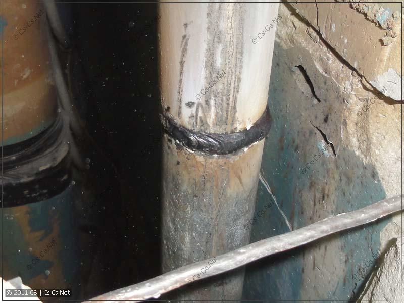 Готовый шов стояка ХВС (убрали резьбовые соединения труб)
