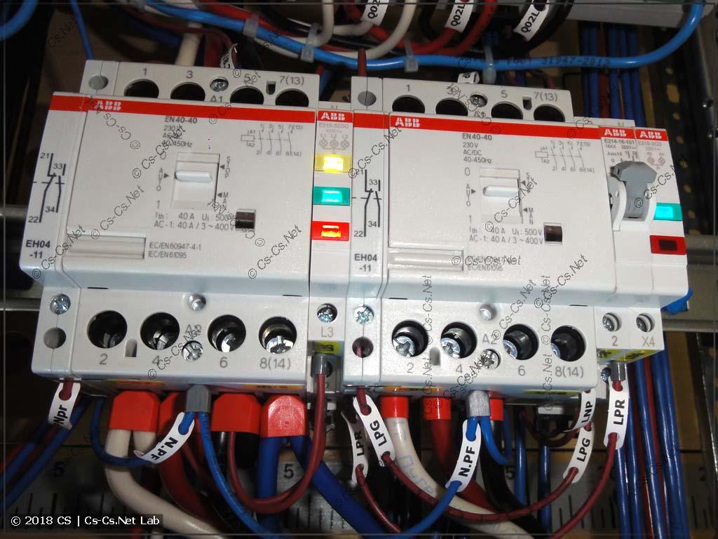 Пример использования контакторов EN 40-40 и дополнительных контактов