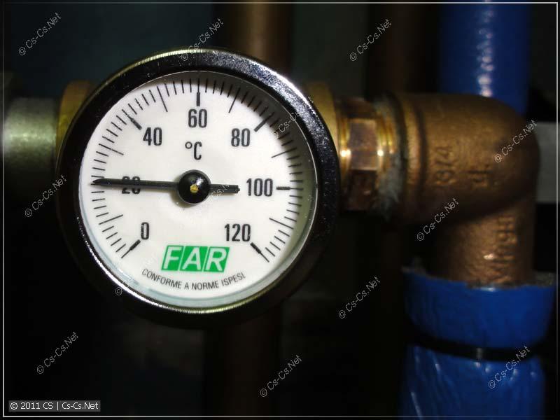 Показания термометра холодной воды