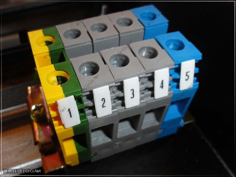 Клеммники ABB (EntrElec) сечением 10 кв.мм для подключения ввода