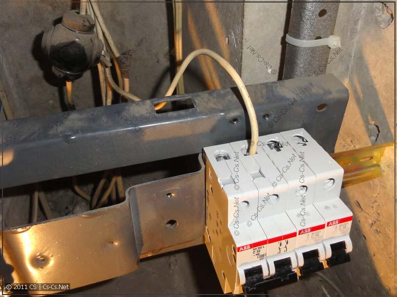 Отвод фазы со стояка подведён к новому вводному автомату