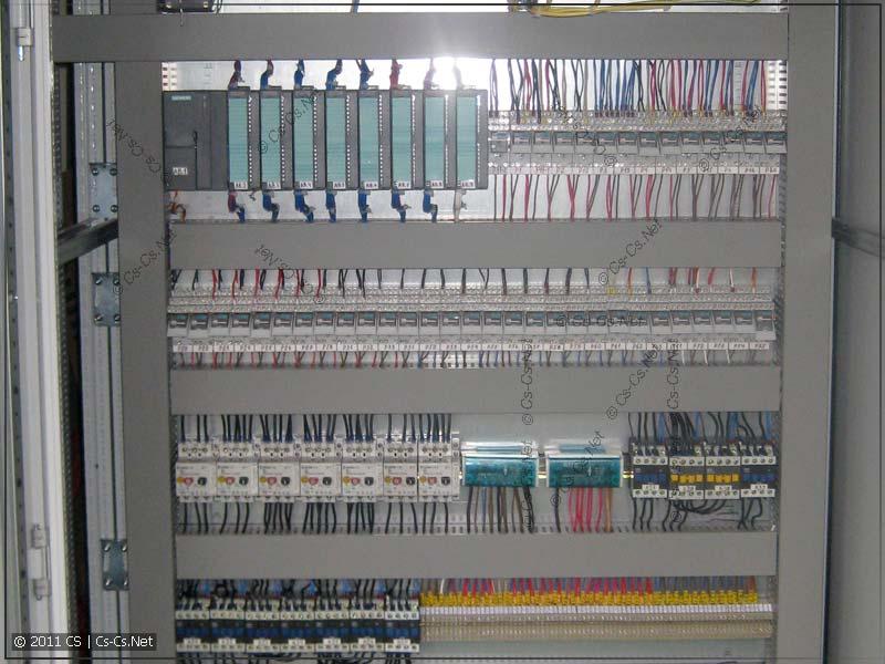 Пример шкафа автоматики, смонтированного при помощи перфорированного короба