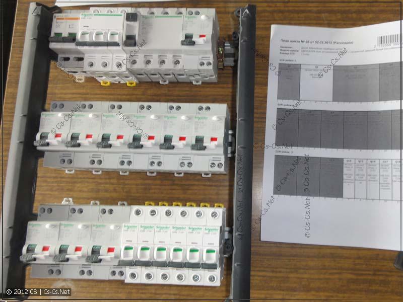Расставляем автоматы согласно нашей документации (пересчитана нагрузка по фазам)