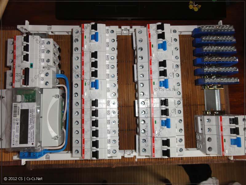 Все компоненты расставлены по местам, заняты все свобдные модули щита