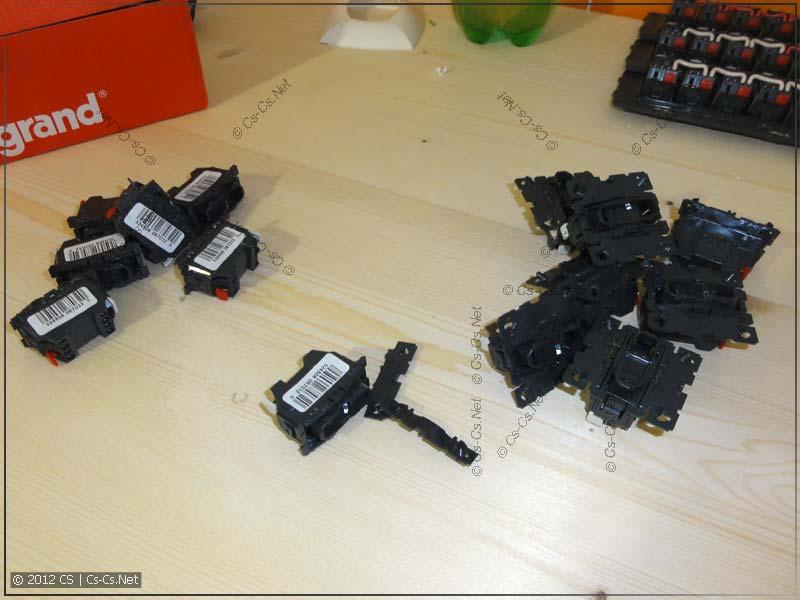 Подготовка кнопок для пятиклавишных блоков