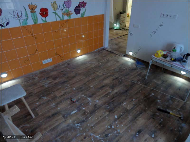 Светильники подсветки пола на кухне