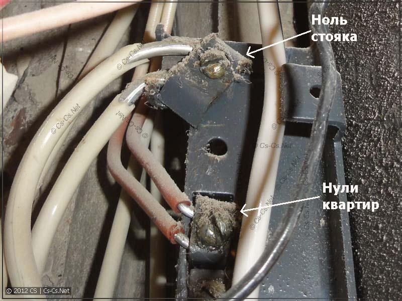 Ноль стояка (PEN), закреплённый на корпус этажного щита