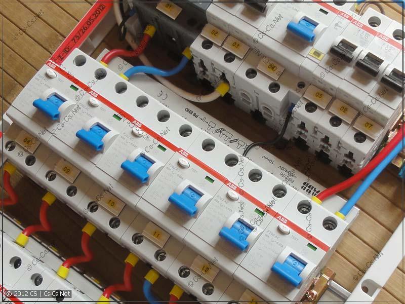 Пример щитка, в котором автоматы подписаны при помощи клеющих площадок